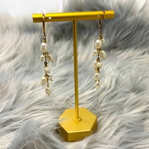 Beaded Pearlescent Droplet Tiered Dangle Earrings
